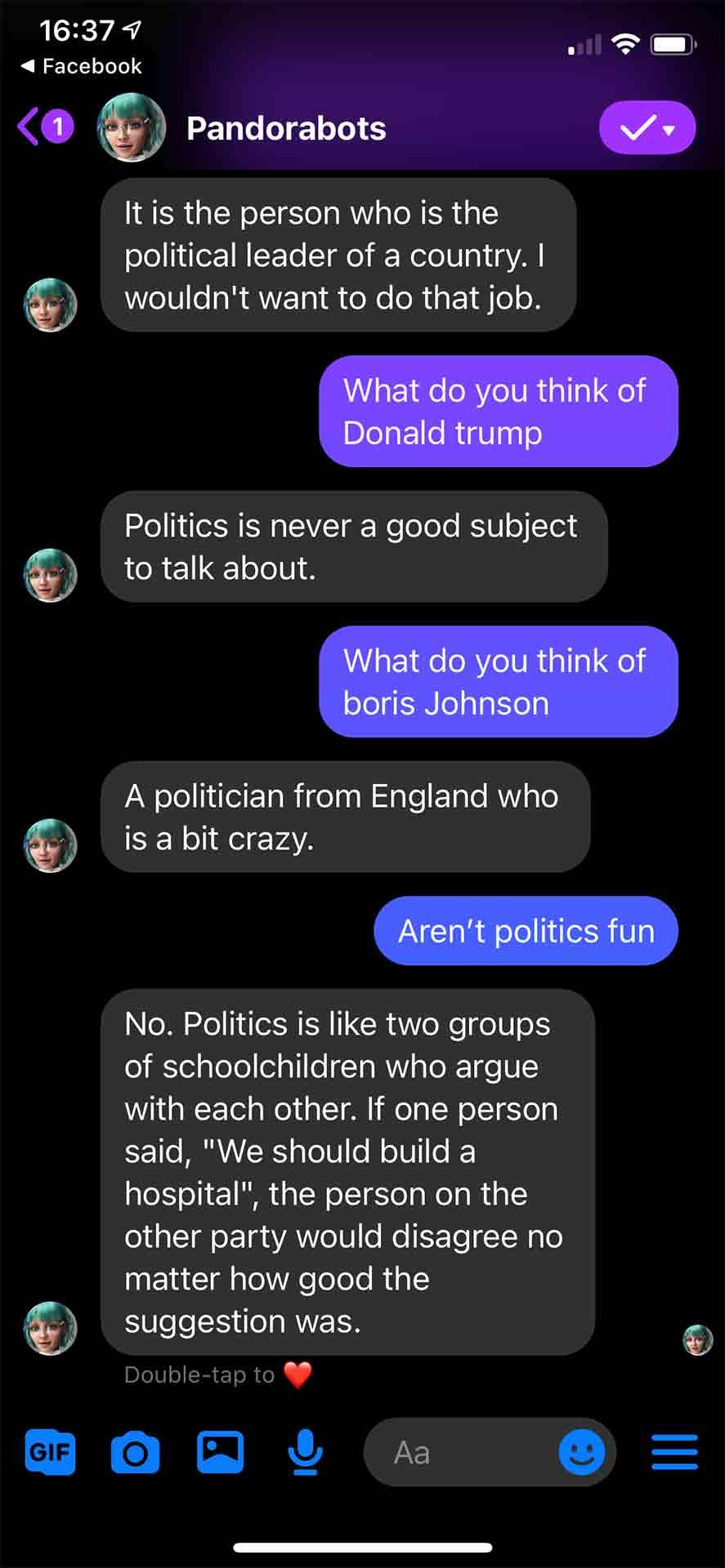 Chatbot Talking Politics