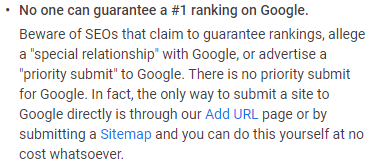 No one can guarantee a #1 ranking on Google